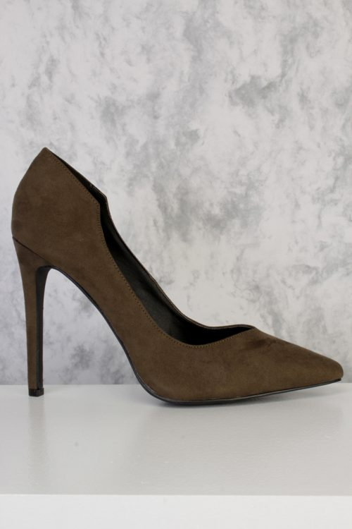 Olive Marilyn Cut Out Pointed Toe Single Sole Pump Heel Suede