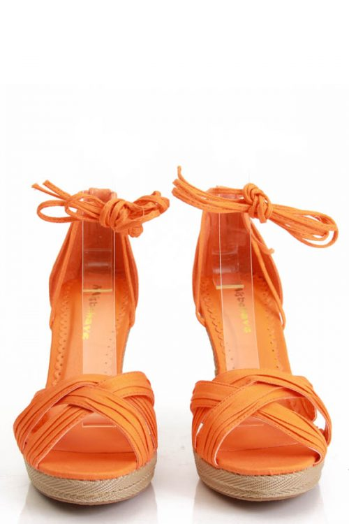 Orange Open Toe Criss Cross Detailing Single Sole Wedges