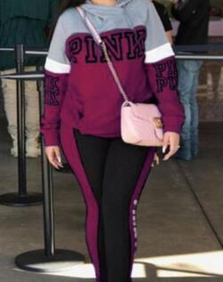 PINK Woman Tracksuit Long Sleeve Hoodies Sweatshirts Winter Sporting Suits Women Letter Print Pants Two-color Splice sweater