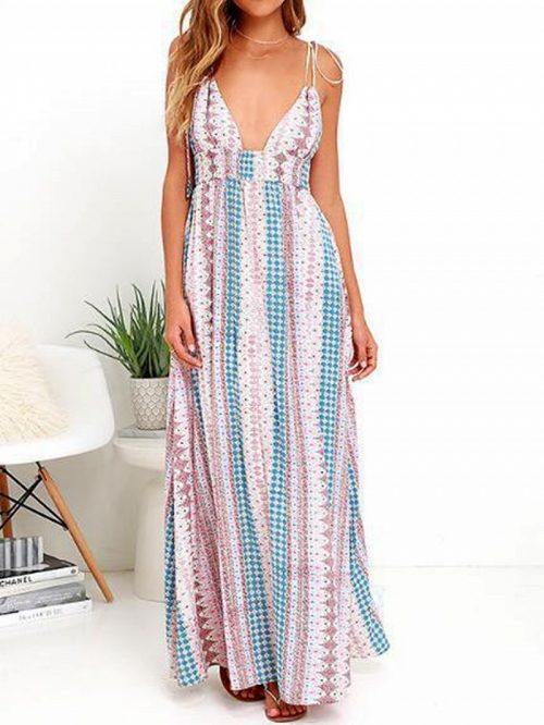 Pink Plunge Floral Print Casual Women Cami Maxi Dress