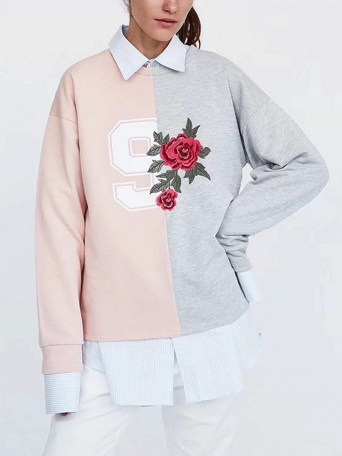 Pink Shirt Collar Floral Embroidery Number Print Blouse