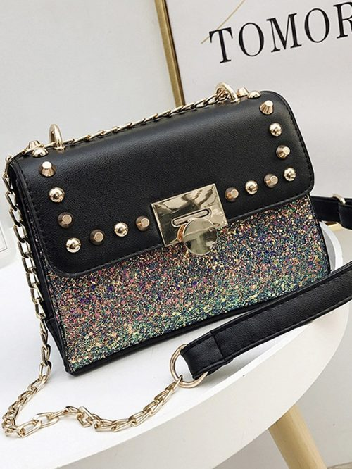 Polychrome Chain Strap Sequin Stud Detail Cross Body Bag