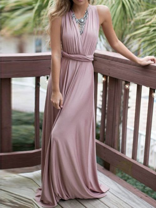 Purple Polyester V-neck Ruched Detail Open Back Party Women Maxi Dress
