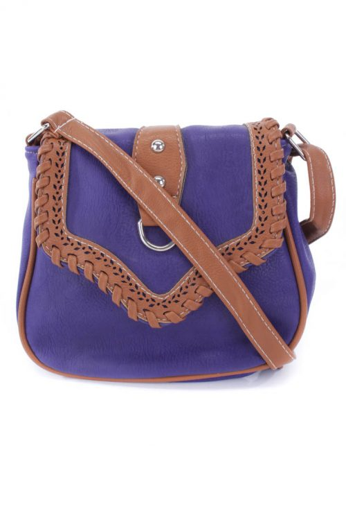 Purple Two Tone Faux Leather Saddle Handbag