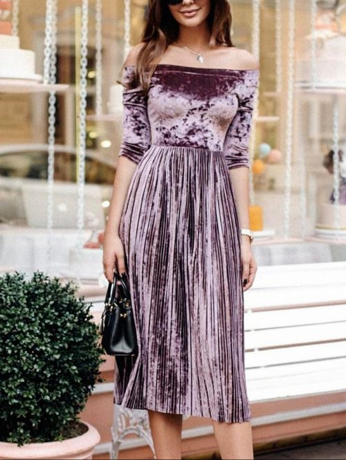 Purple Velvet Off Shoulder Pleated Midi Dress