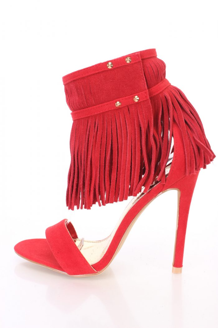 Red Fringed Ankle Cuff Single Sole Heels Faux Suede
