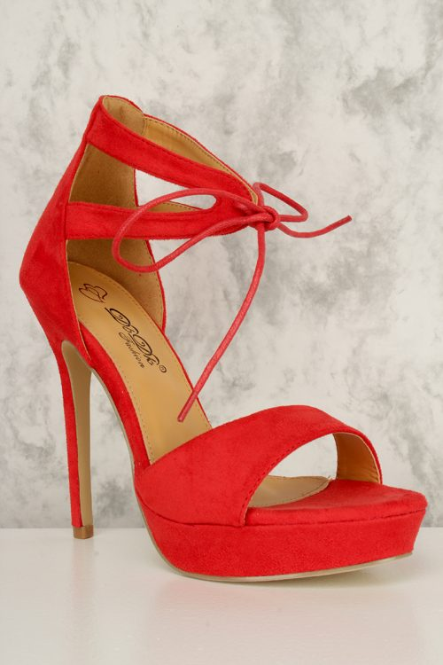 Red Front Lace Tie Open Toe Platform High Heels Faux Suede