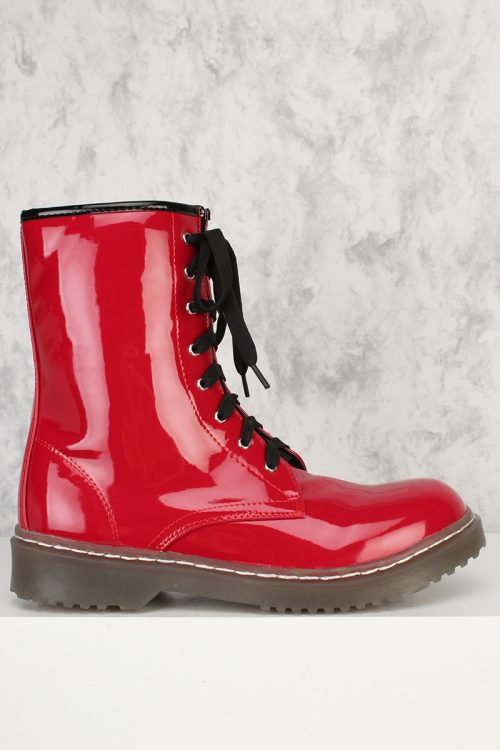 Red Front Lace Up Round Closed Toe Combat Boots