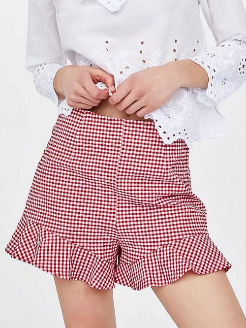Red Plaid High Waist Ruffle Hem Shorts