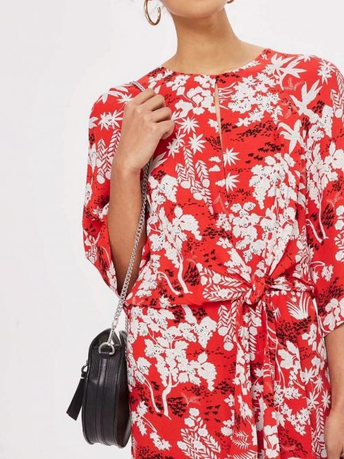 Red Print Detail Knot Front Midi Dress