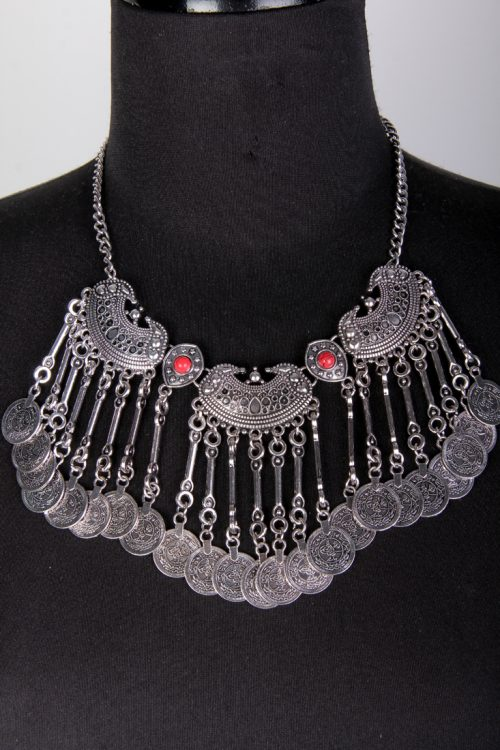 Red Silver Intricate Charm Dangle High Polish Chain Necklace