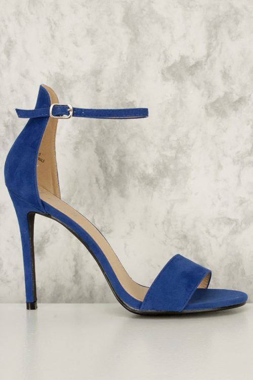 Royal Blue Single Buckle Ankle Strap Open Toe Single Sole High Heel Faux Suede