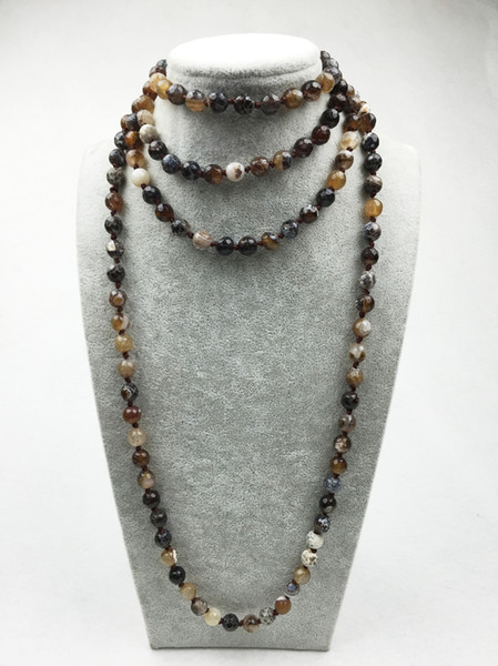 ST0311 Fancy Long stone necklace making 60 inches agate neckalce Coffee Fire Agate Knots necklace mala necklace