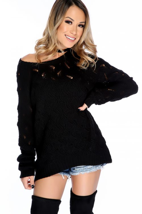 Sexy Black Knitted Off The Shoulder Long Sleeve Sweater