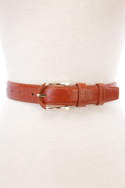 Sexy Cognac Faux Leather Suade Accent Belt