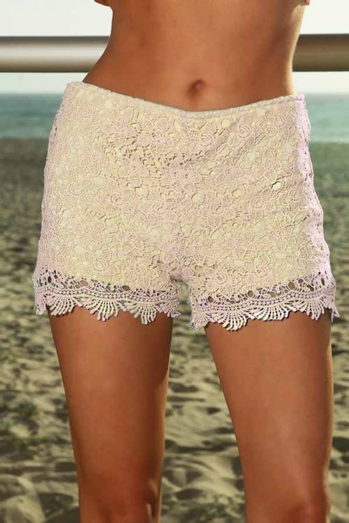 Sexy Cream Floral Embroider Crochet Dressy Shorts