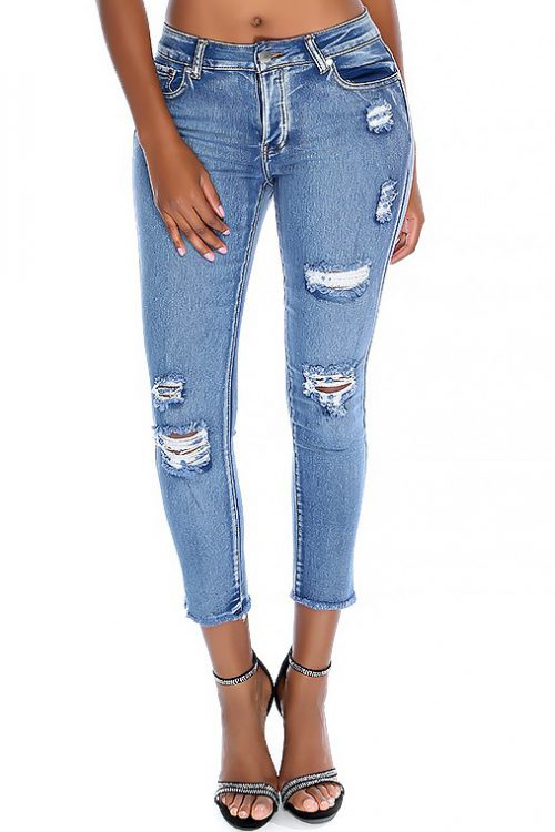 Sexy Faded Denim High Waist 4 Button Distressed Stretch Cropped Fringe Jeans