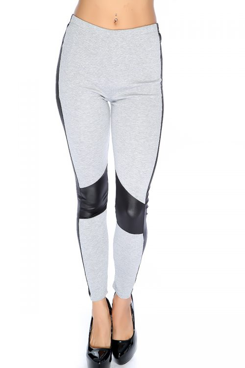 Sexy Grey Town Tone Side Faux Leather High Waist Leggings
