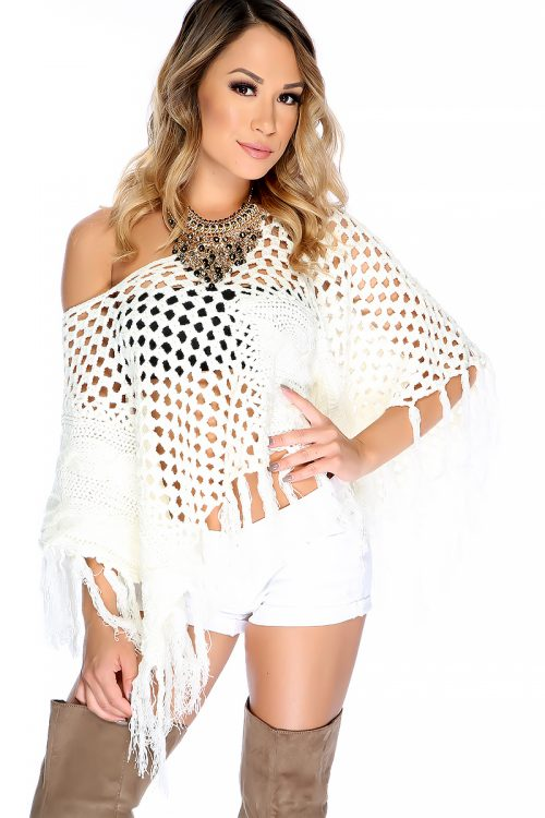 Sexy Ivory Off The Shoulder Knitted Fringe Poncho