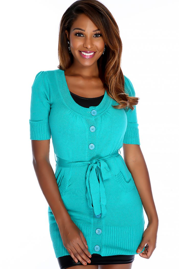 Sexy Teal Quarter Sleeve Front Button Up Waist Tie Around Sweater Dress