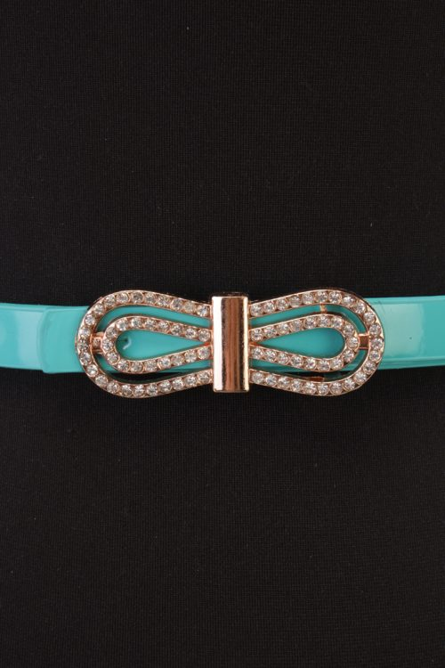 Sexy Turquoise Bow Accent High Polish Faux Leather Belt