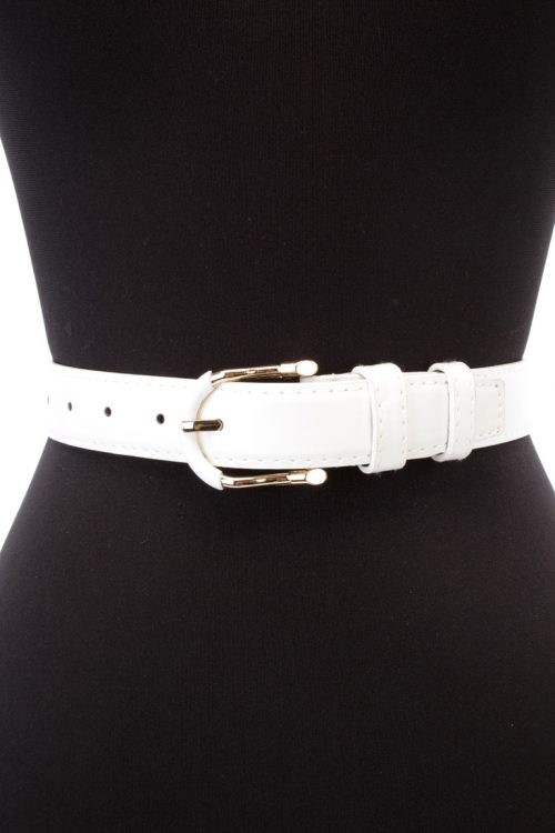 Sexy White Faux Leather Suede Accent Belt