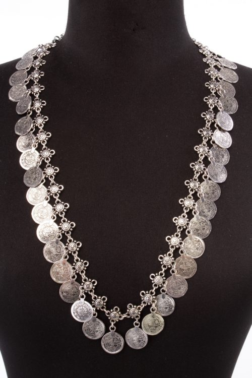 Silver Coin Accent Stylish Statement Necklace