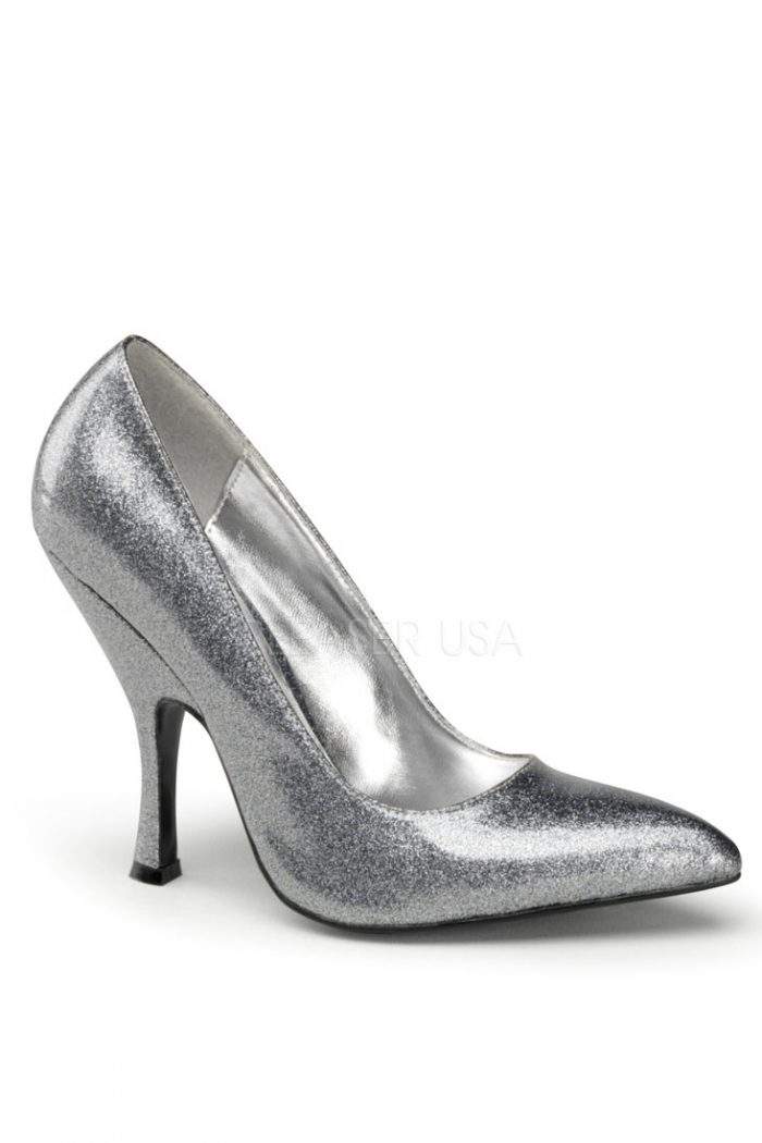 Silver Pearlized Glitter Single Sole Pump Heels Patent