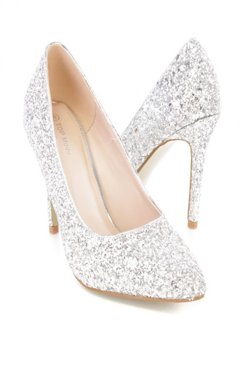 Silver Sequins Pointy Toe Single Sole Heels Faux Leather