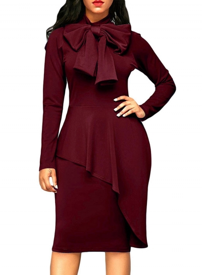 Solid Color Long Sleeve High Waist Bow Bodycon Dress