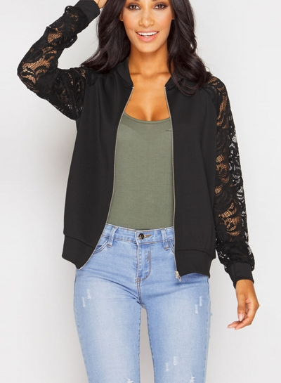 Solid Long Sleeve Lace Panel Jacket