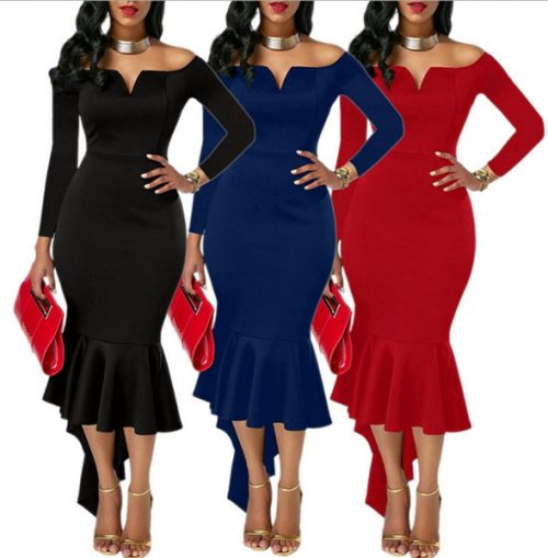 Spring 2018 New Women's Dress V-neck Strapless Swallowtail Skirt Dress for Lady's Party Evening Prom Dresses Fashion Sexy Bodycon Dress