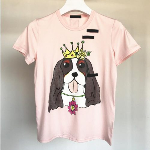 Summer Women Tshirt Short Sleeve pink Female Tee Tshirt printed dog head t-shirt harajuk Tops Casual paris