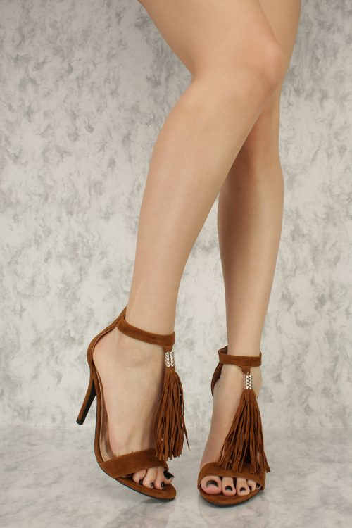 Tan Ankle Tassel Detailing Open Toe High Heels Faux Suede