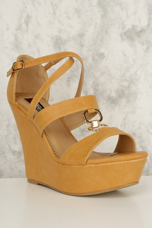 Tan Cross Strap High Polish Accent Open Toe Platform Wedges Faux Grain Leather