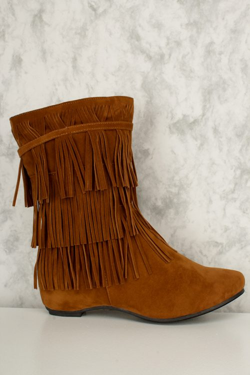 Tan Fringed Ankle Boots Faux Suede