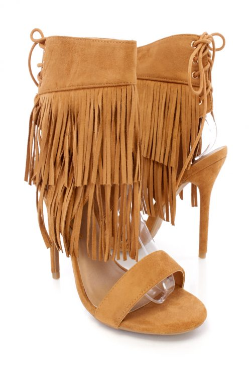 Tan Front Fall Fringe Open Toe Single Sole Faux Suede