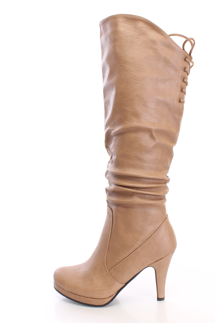 Taupe Slouchy Knee High Boots Faux Leather