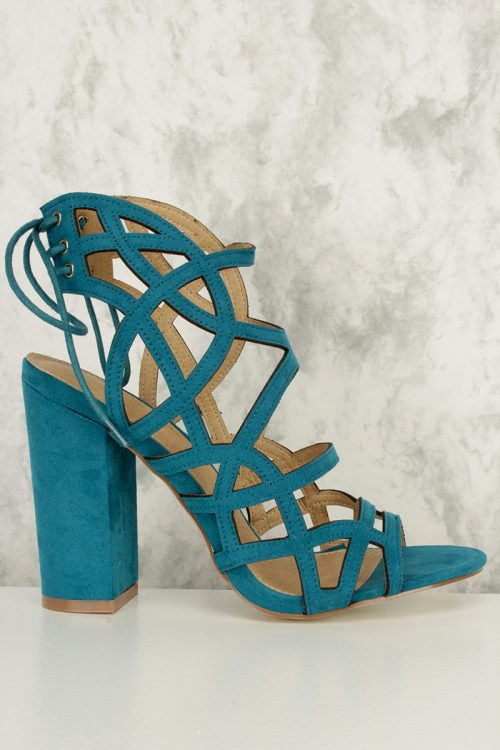 Teal Strappy Cut Outs Back Lace Detailing Open Toe Chunky Heels Faux Suede