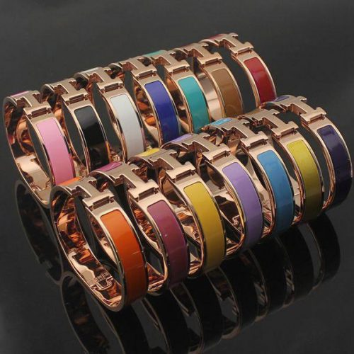 Top Qualitu 316L Titanium Steel 12mm H Bracelets Rose Gold Silver gold hardware Bangle Women and Men Famous brand pulsera fashion jewelry
