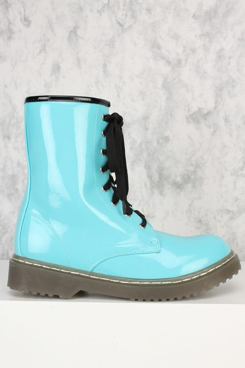 Turquoise Front Lace Up Round Closed Toe Combat Boots