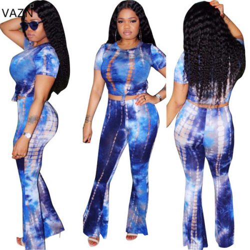 VAZN 2018 Sexy Sleeve Fashion Ladies Sexy Bodycon Costume O-neck Women Jumpsuits Print 2-piece Night Club Rompers S632