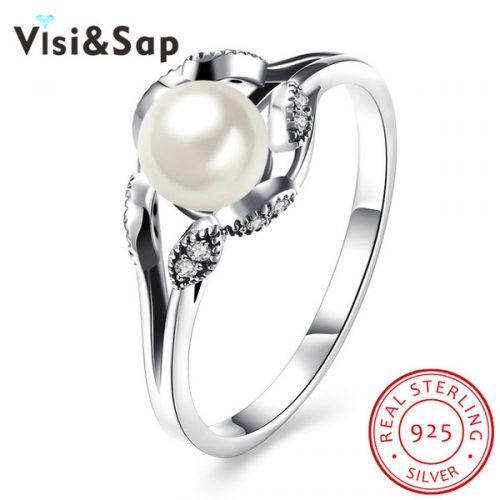Visisap Classic closed inlaid oyster pearl 925 sterling silver jewelry for the female anniversary ring luxury wholesale jewellery SVR186