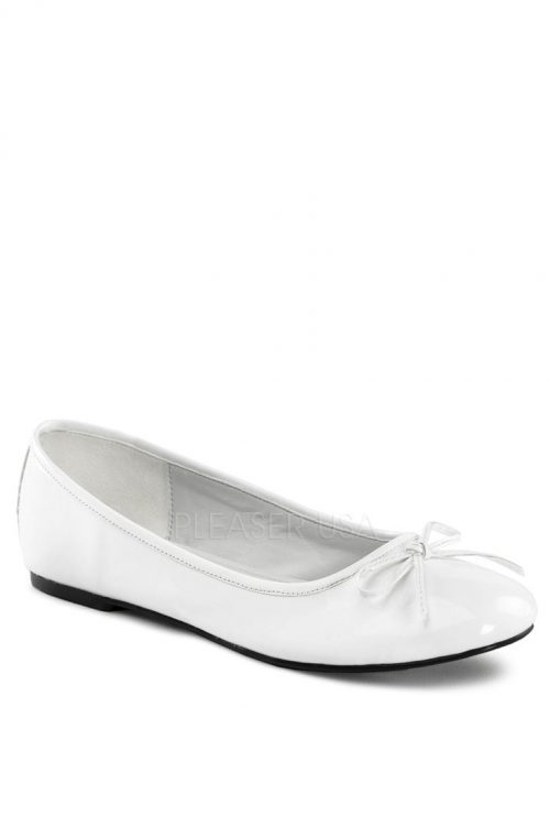 White Bow Tie Closed Toe Flats Patent