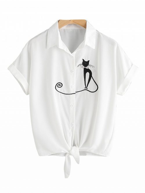 White Cat Embroidery Tie Front Short Sleeve Shirt