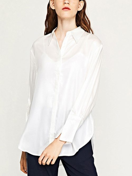 White Embroidery Back Long Sleeve Shirt