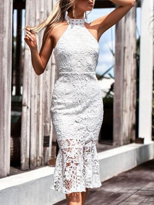 White Halter Open Back Chic Women Lace Bodycon Midi Dress
