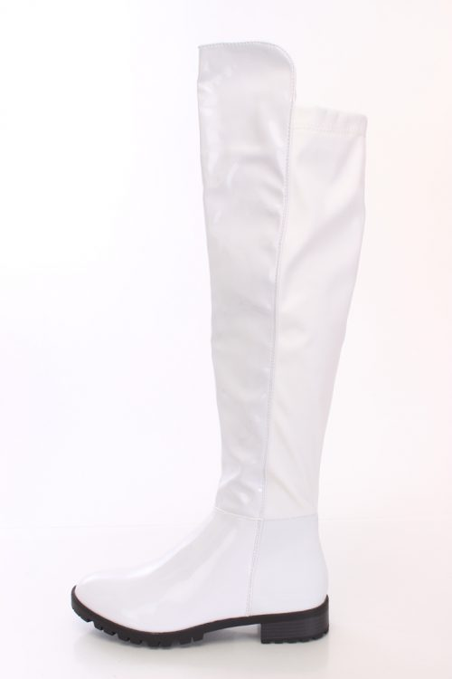 White Knee High Riding Boots Patent Nylon-5.5
