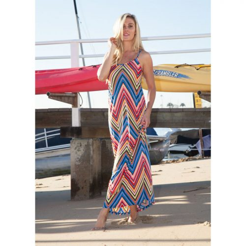 White Mark Red Chevron Maxi Dress