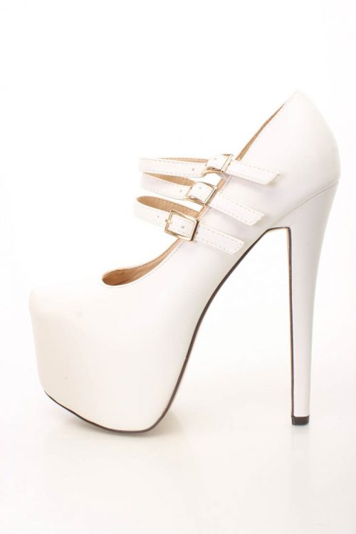 White Maryjane Platform 6 Inch High Heels Faux Leather